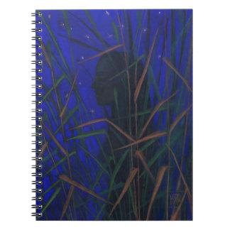 """Night"", blue midnight, stars, woman figure, art Spiral Notebook"
