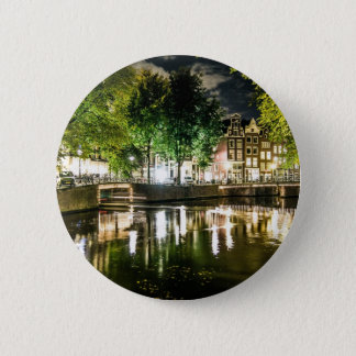 night canal in Amsterdam, Netherlands 2 Inch Round Button