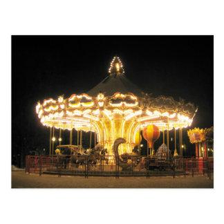 Night carrousel postcard