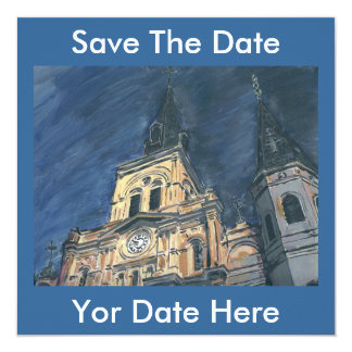 "Night Cathedral, Save The Date, Yor Date Here 5.25"" Square Invitation Card"