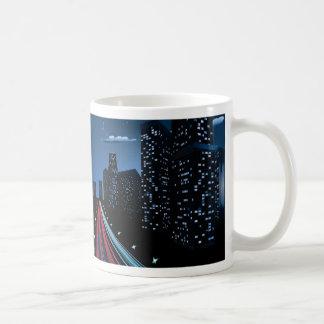 Night City Road Panorama Coffee Mug