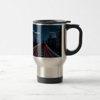Night City Road Panorama Travel Mug