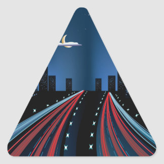 Night City Road Panorama Triangle Sticker