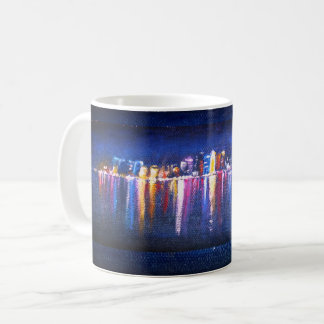 Night City Skyline, oil painting of Qatar Coffee Mug