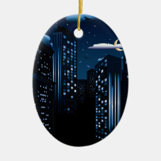 Night Cityscape Background Ceramic Oval Ornament