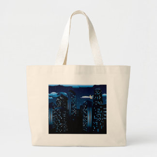 Night Cityscape Background Large Tote Bag