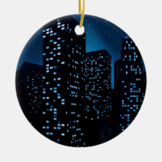 Night Cityscape Background Round Ceramic Ornament