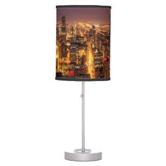 Night cityscape of Chicago Desk Lamps