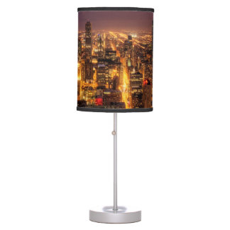 Night cityscape of Chicago Table Lamp