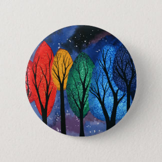 Night colour - rainbow swirly trees starry sky 2 inch round button