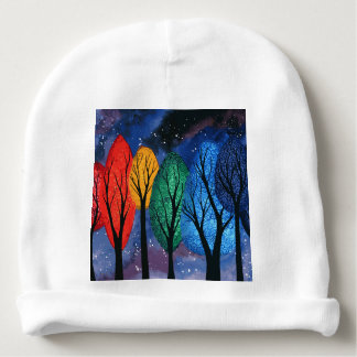 Night colour - rainbow swirly trees starry sky baby beanie