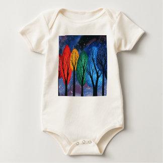 Night colour - rainbow swirly trees starry sky baby bodysuit