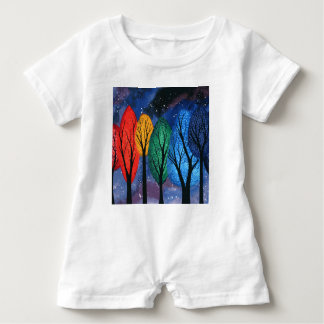 Night colour - rainbow swirly trees starry sky baby romper