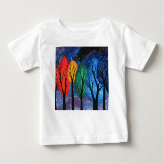 Night colour - rainbow swirly trees starry sky baby T-Shirt