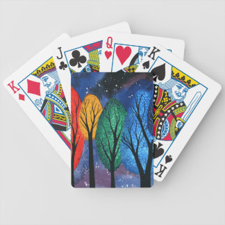 Night colour - rainbow swirly trees starry sky bicycle playing cards