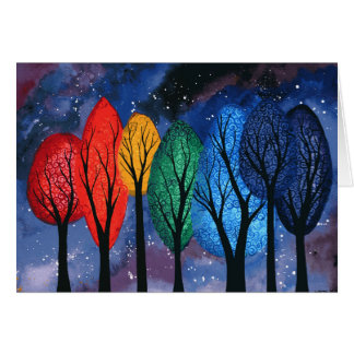 Night colour - rainbow swirly trees starry sky card