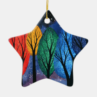 Night colour - rainbow swirly trees starry sky ceramic ornament