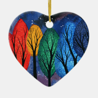 Night colour - rainbow swirly trees starry sky ceramic ornament