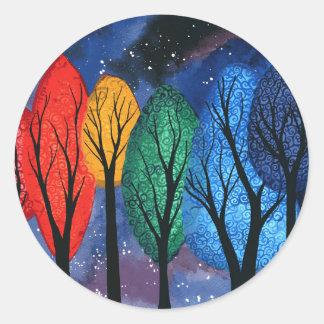 Night colour - rainbow swirly trees starry sky classic round sticker