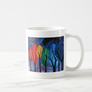Night colour - rainbow swirly trees starry sky coffee mug