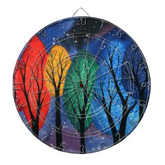 Night colour - rainbow swirly trees starry sky dartboard