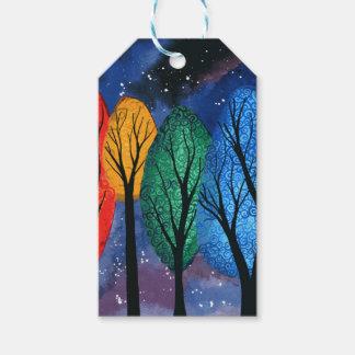 Night colour - rainbow swirly trees starry sky gift tags