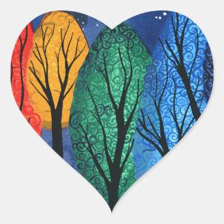 Night colour - rainbow swirly trees starry sky heart sticker