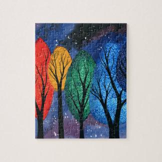 Night colour - rainbow swirly trees starry sky jigsaw puzzle