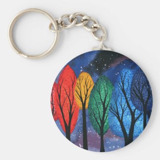 Night colour - rainbow swirly trees starry sky keychain