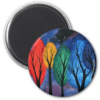 Night colour - rainbow swirly trees starry sky magnet