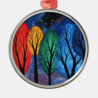 Night colour - rainbow swirly trees starry sky metal ornament