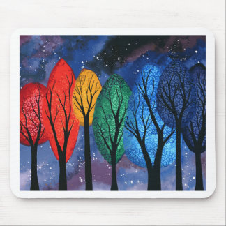 Night colour - rainbow swirly trees starry sky mouse pad