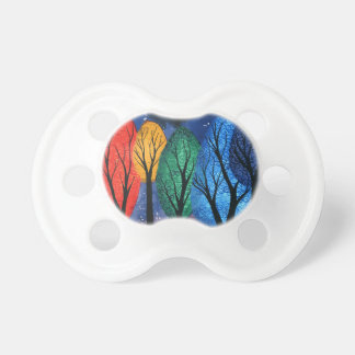 Night colour - rainbow swirly trees starry sky pacifier