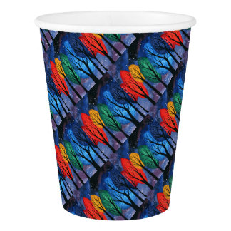 Night colour - rainbow swirly trees starry sky paper cup