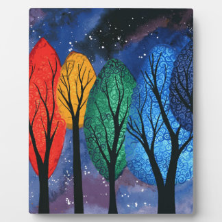 Night colour - rainbow swirly trees starry sky plaque