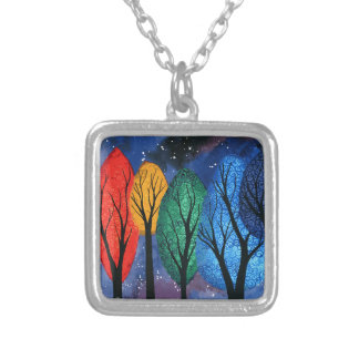 Night colour - rainbow swirly trees starry sky silver plated necklace