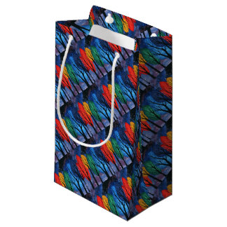 Night colour - rainbow swirly trees starry sky small gift bag