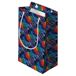 Night colour - rainbow swirly trees starry sky small gift bag
