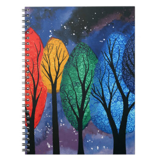 Night colour - rainbow swirly trees starry sky spiral note books