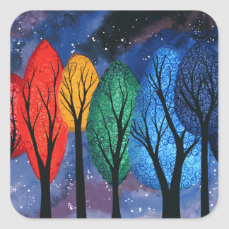 Night colour - rainbow swirly trees starry sky square sticker