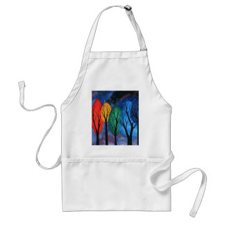 Night colour - rainbow swirly trees starry sky standard apron