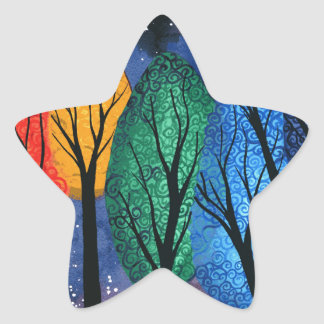 Night colour - rainbow swirly trees starry sky star sticker