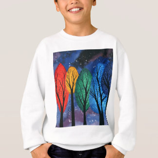 Night colour - rainbow swirly trees starry sky sweatshirt
