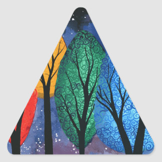 Night colour - rainbow swirly trees starry sky triangle sticker