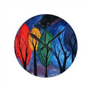 Night colour - rainbow swirly trees starry sky wallclock