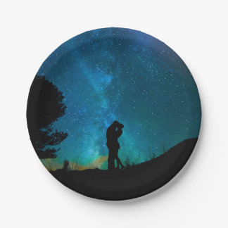 Night Couple Kissing Romantic Colorful Starrry Sky 7 Inch Paper Plate