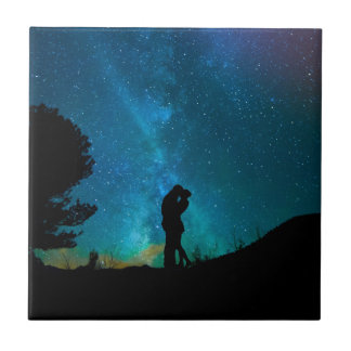 Night Couple Kissing Romantic Colorful Starrry Sky Ceramic Tile