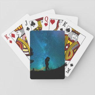 Night Couple Kissing Romantic Colorful Starrry Sky Poker Deck