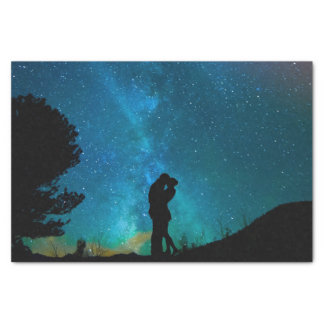 Night Couple Kissing Romantic Colorful Starrry Sky Tissue Paper