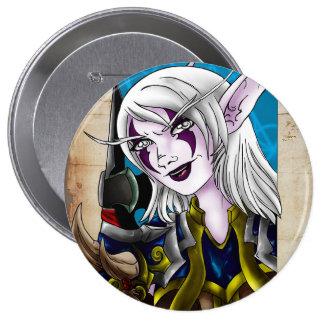 Night Elf Warrior 4 Inch Round Button
